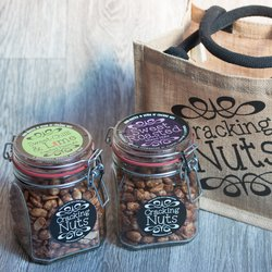 Nut Jars Selection Gift Box & Jute Bag Inc. Hand-Roasted Peanuts, Cashews & Almonds