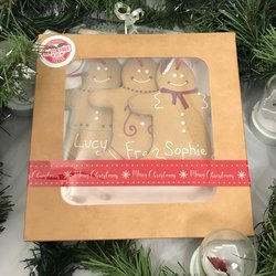 3 Personalised Gluten-Free Gingerbread Christmas Tree Men Gift Box