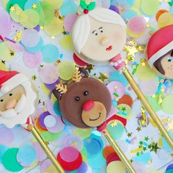Christmas 'Cakeiscle' Cake Pop Gift Box Inc. Santa Claus, Reindeer, Mrs Claus & Elf