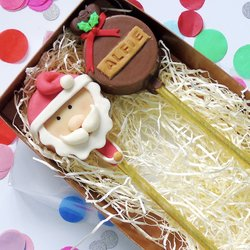 Santa Claus & Christmas Pudding 'Cakesicle' Personalised Cake Pop Gift Box