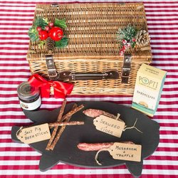Artisan British Charcuterie Hamper Inc. Salt Pig Beersticks, Salami, Crackers & Chutney