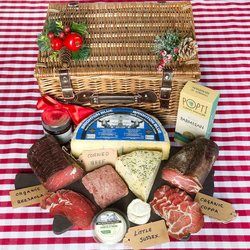 Organic Cheese & Charcuterie Hamper Inc. Bresaola, Goat's Cheese, Coppa & Soft Cheese