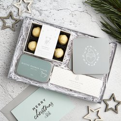 Christmas Letterbox Gift Box With Orange & Cinnamon White Chocolate Truffles & Fruit Tea