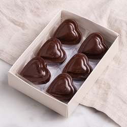 6 x Vegan Dark Chocolate Heart Shaped Truffle Gift Box