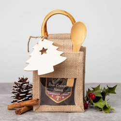 Raw Creamed Honey Gift Set in Jute Bag With Winterspice Hungarian Honey & Spoon