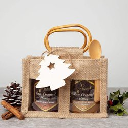 Honey & Bee Pollen Gift Set With Hungarian Raw Creamed Cinnamon & Bee Pollen Honey in Jute Bag With Spoon