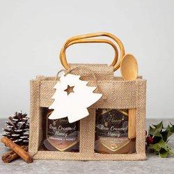 Honey & Bee Pollen Gift Set With Hungarian Raw Creamed Cinnamon & Bee Pollen Honey in Jute Bag With Spoon