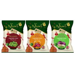 9 x Brussel Sprout, Bubble & Squeak and Beetroot & Butternut Vegetable Crisps by Nim's (Air-Dried)