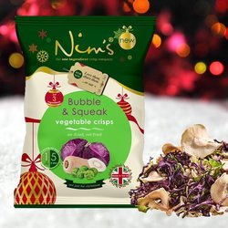 3 x Bubble & Squeak Vegetable Crisps with Red Cabbage, Brussel Sprouts & Parsnips by Nim's 70g (Air-Dried)