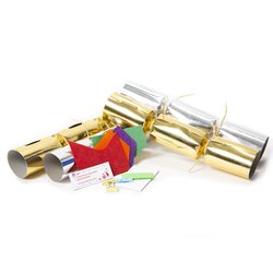 50 x Eco-Friendly Christmas Crackers - Plastic-Free Contents - Gold & Silver