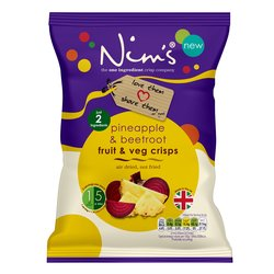 3 x Pineapple & Beetroot Fruit & Vegetable Crisps by Nim's 80g (Large Size Bags, Air-Dried Fruit)