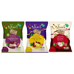 3 x Fruit & Vegetable Crisps by Nim's (Large Size Bags, Air-Dried Fruit)