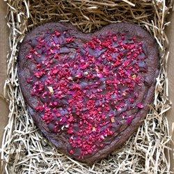 Vegan heart-shaped chocolate brownie