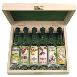 Hungarian Palinka Gift Box - 6 Mini Bottles of Premium Palinka (Fruit Brandy) in Wooden Presentation Box - 40ml 44% ABV