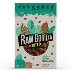 Raw Gorilla Keto Muesli 250g - Choc Chip Mighty Muesli - High Protein Cereal - 2 Boxes (Vegan, Organic & Gluten Free)