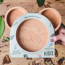 Kids Wooden Bear Plate - Eco-friendly Wooden Plate Made From Naturally Antibacterial British Hardwood - Plastic Free Gift for Kids