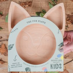 Kids Wooden Fox Plate - Eco-friendly Wooden Plate Made From Naturally Antibacterial Beech Wood - Plastic Free Gift for Kids