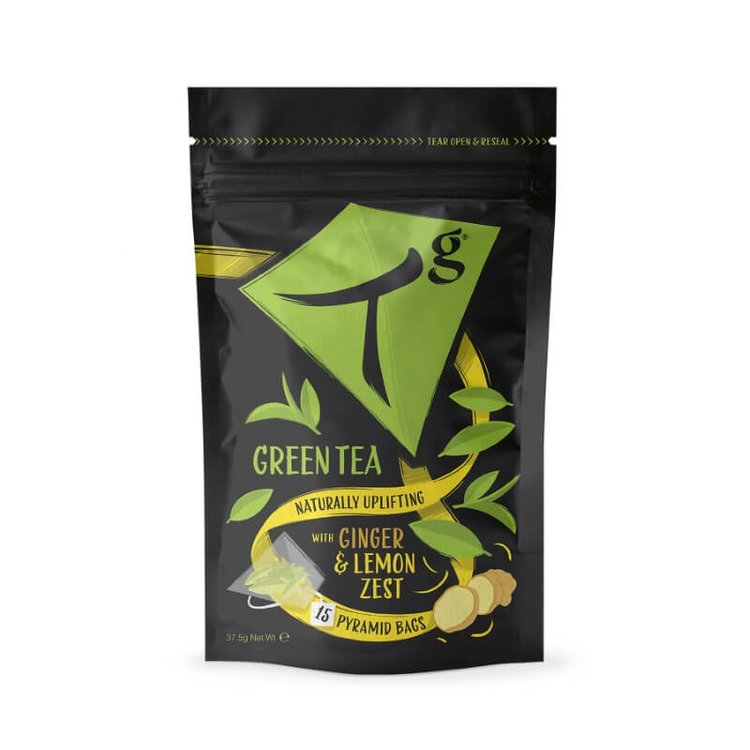 Organic Green Tea with Ginger & Lemon Pouch 15 Tea Bags