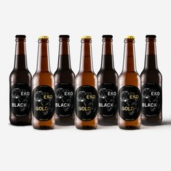 12 Eko Gold Craft Lager 4.9% ABV & 12 Eko Black Smoked Porter 5.0% ABV 300ml bottles