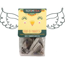 Bird of Paradise' Strawberry Green Tea in Biodegradable Tea Bags - 12 Plastic Free Tea Bags