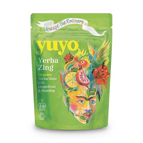 Yerba Mate Zing Tea with Citrus Peels and Grapefruit Oil 14 Tea Bags by Yuyo (Organic)