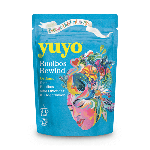 Green Rooibos Rewind Tea with Lavender and Chamomile 14 Tea Bags by Yuyo (Organic, Caffeine-Free)