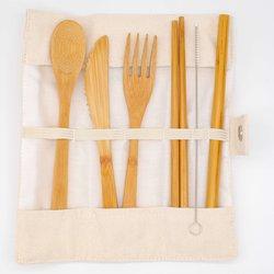 Reusable Bamboo Cutlery Set with Canvas Cutlery Roll (20cm Length Cutlery)