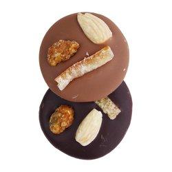 Caramelised Pistachio, Almond & Candied Orange Milk & Dark Chocolate Mendiants 150g