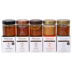 Philotimo Organic Greek Honeys Selection - 5 Raw Honey Varieties (5 x 250g)