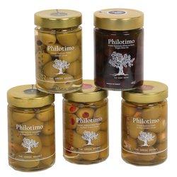 Greek Premium Olives Set with Pitted & Stuffed Green & Kalamata Olives