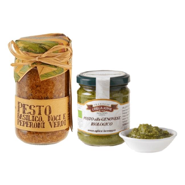 Organic Pesto Sauce & Basil, Walnut & Green Pepper Pesto 180g & 212ml