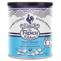 Hand Cooked Crisps with Gourmet Sea Salt - 12 x 75g Sharing Drums - Potato Crisps by The French Kitchen