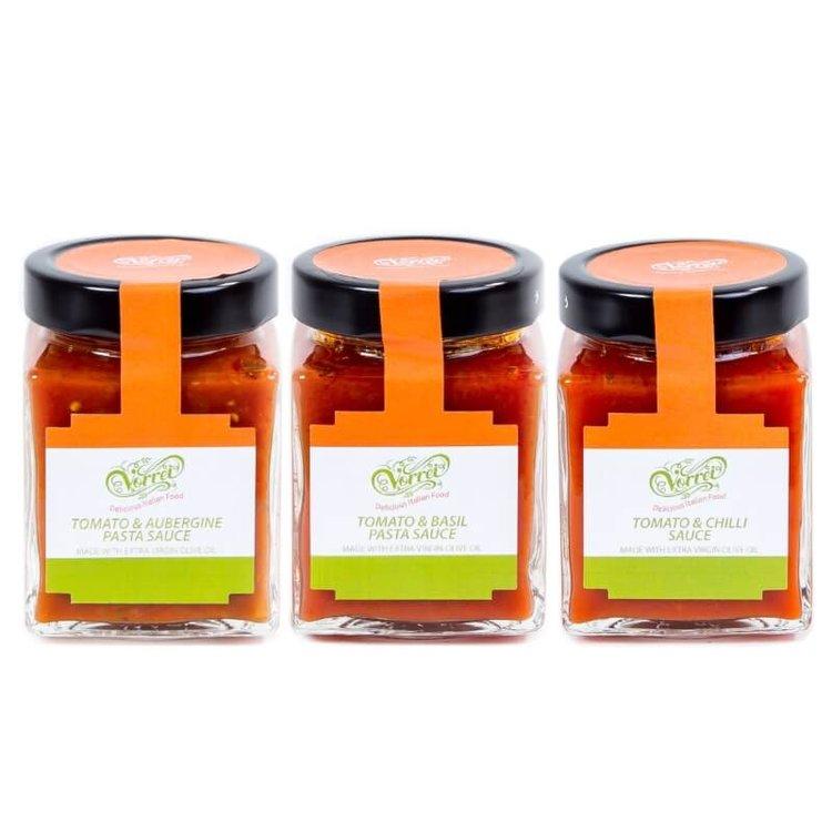 Tomato Pasta Sauce Trio - Aubergine, Basil & Chilli 3 x 314ml