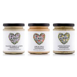 Flavoured Mayonnaise Selection by Lucy's Dressings - Lime & Chilli Mayo, Roasted Garlic Mayo, and Lemon Mustard Mayo (3 x 240g)