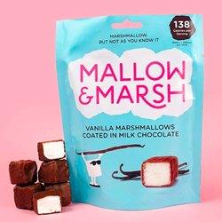 6 Vanilla Mallow and Marsh 100g Sharing Bags - Milk Chocolate Coated Vanilla Marshmallows
