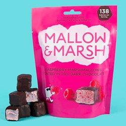 6 Raspberry Mallow and Marsh 100g Sharing Bags - Dark Chocolate Coated Raspberry Marshmallows
