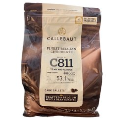 Callebaut 53.1% Dark Chocolate Callets 2.5kg - Belgian Cooking Chocolate