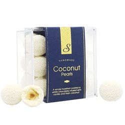 Coconut Pearls by Sweet Lounge 125g - White Chocolate Covered Hazelnuts with Vanilla & Fresh Coconut