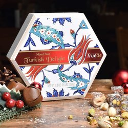 Coconut, Hazelnut & Pistachio Turkish Delight Selection by Truede in Handmade Wooden Gift Box 250g - Turkish Delight Gift Box