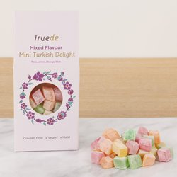 Mini Mixed Flavour Truede Turkish Delight 150g - Rose, Lemon, Orange & Mint Varieties