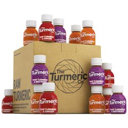 Raw Turmeric Shots Variety Box by The Turmeric Co. - Original Turmeric, Ginger & Beetroot Varieties (12 x 60ml)
