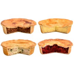Brockleby's Pies 'Family Pie Box' Frozen Savoury & Sweet Pies Selection - 4 Large Frozen Pies (600g Per Pie, Serves 3-4)