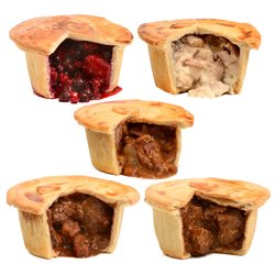 Brockleby's Pies 'Family Selection' - 5 Small Frozen Pies (300g Per Pie, Serves 1-2)
