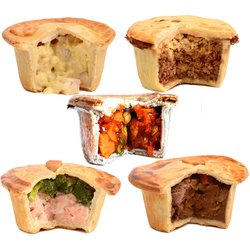 Brockleby's Pies 'Deluxe Selection' - 5 Small Frozen Pies (300g Per Pie, Serves 1-2)