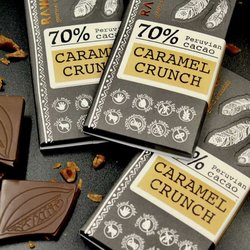 Caramel Crunch Raw Chocolate Bar 70% Peruvian Cacao 30g