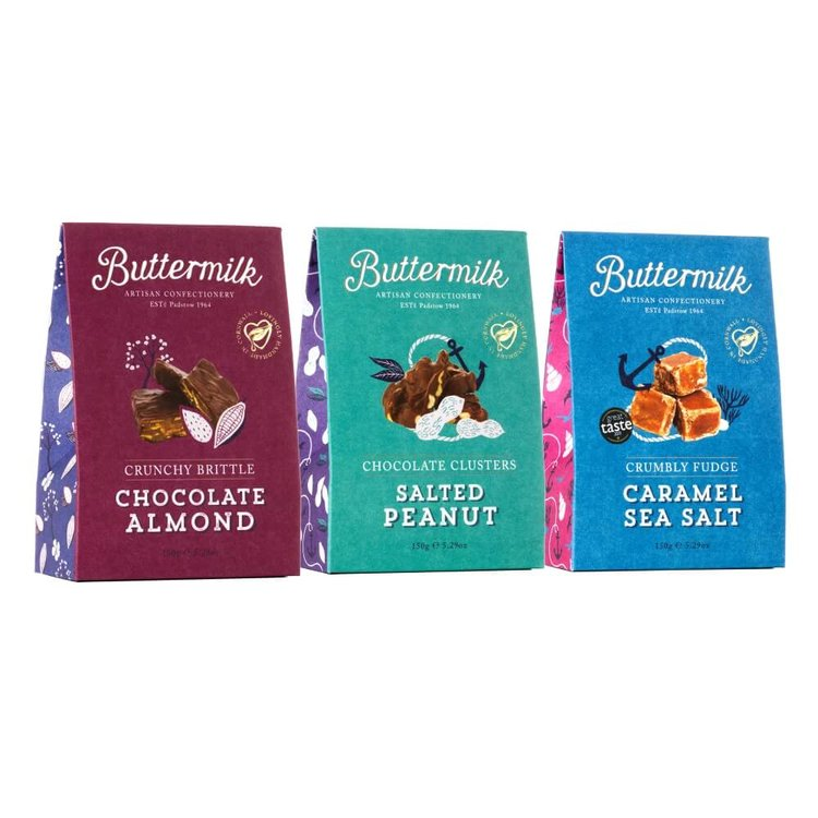 Cornish Fudge, Chocolate Almond & Peanut Clusters Gift Pack by Buttermilk 3 x 150g