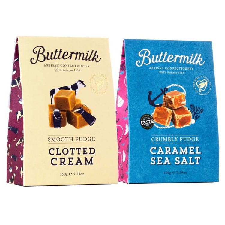 Cornish Fudge Gift Pack with Clotted Cream & Caramel Sea Salt Fudge 2 x 150g