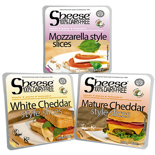 Dairy-Free Vegan Sliced Cheese ('Sheese') Selection 3 Pack by Bute Island