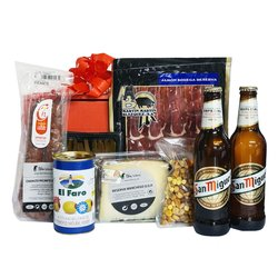 Spanish Food Hamper for Him with Beer, Serrano Ham, Manchego Cheese & Olives