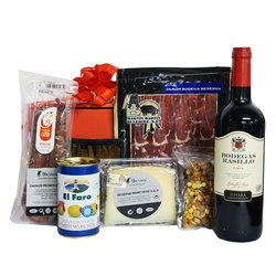 Spanish Food Hamper for Him with Rioja Wine, Serrano Ham, Manchego Cheese & Olives